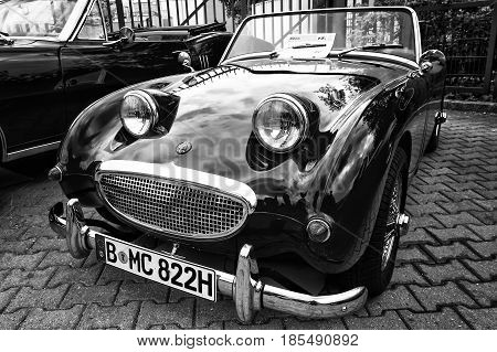Berlin - May 11: Small Open Sports Car Austin-healey Sprite (black And White), 26Th Oldtimer-tage Be