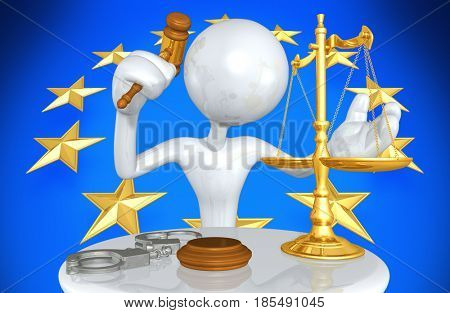 European Union Law With The Original 3D Character Illustration