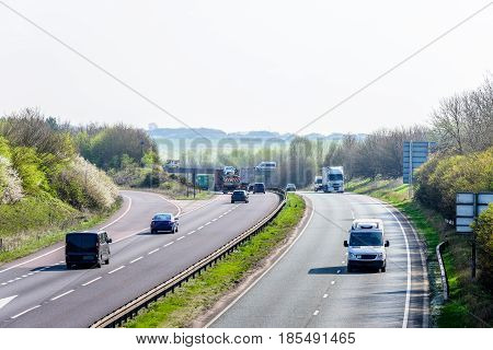 Day view background of UK Motorway Road.