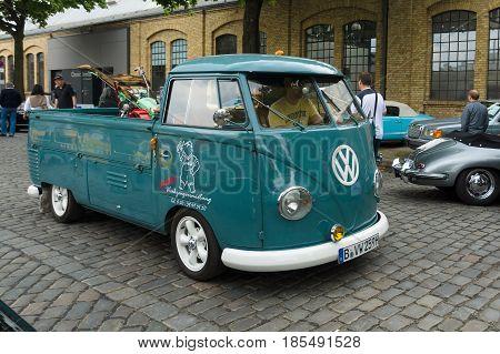 BERLIN - MAY 11: Small truck pickup Volkswagen Type 2 (T2) 26th Oldtimer-Tage Berlin-Brandenburg May 11 2013 Berlin Germany