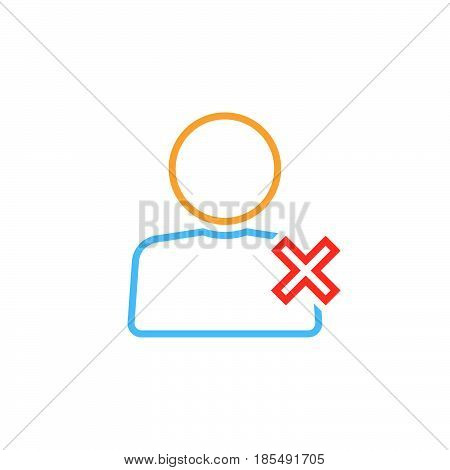 Delete User Line Icon, Remove Account Outline Vector Logo Illustration, Linear Pictogram Isolated On