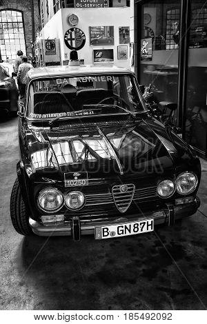 BERLIN - MAY 11: Italian four-door sedan Alfa Romeo Giulia Nuova Super (black and white) 26th Oldtimer-Tage Berlin-Brandenburg May 11 2013 Berlin Germany