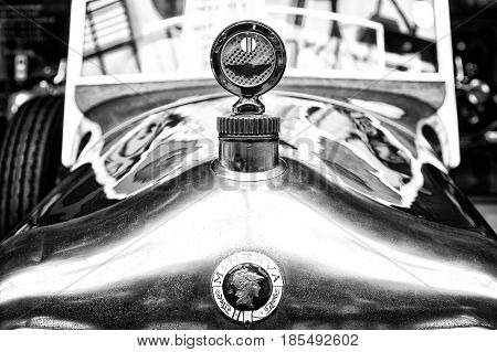 Berlin - May 11: The Emblem On The Hood Of A Belgian Car Minerva, (black And White), 26Th Oldtimer-t