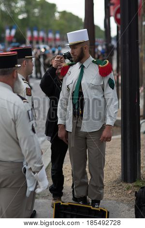 Paris. France. July 14 2012. Pioneers of the French foreign legion are making preparations for the parade on the Champs Elysees in Paris.