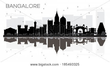 Bangalore City skyline black and white silhouette with reflections. Simple flat concept for tourism presentation, banner, placard or web site. Cityscape with landmarks.