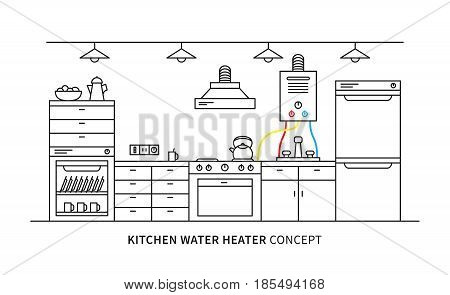 Kitchen water heater geyser vector illustration. Kitchen interior with domestic boiler graphic design.