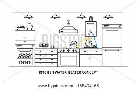 Kitchen water heater geyser vector illustration. Kitchen interior with domestic boiler graphic design.