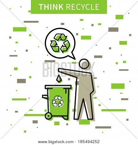 A man drops garbage into a rubbish bin vector illustration. Creative concept with recycle sign and colorful elements.