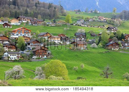 Alpine landscape in Berner Oberland, Switzerland, Europe