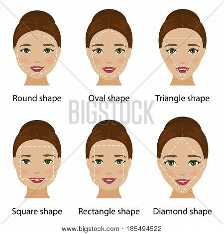 Set of different types of woman face shapes as oval, square, round, diamond, rectangle, triangle. Types of face for makeup, glasses and fashion style. Vector