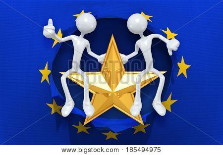 European Union The Original 3D Characters Sitting On A Star Illustration