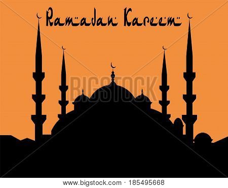 Ramadan Kareem. The architectural complex is painted in the style of a blue mosque. Vector illustration