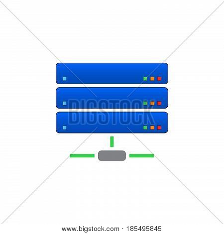 Server Icon Vector, Network Storage Solid Logo Illustration, Colorful Pictogram Isolated On White