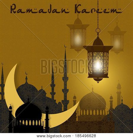 Ramadan Kareem. Greeting card. Stylized drawing of the month and the silhouette of the eastern city. Lanterns on a background of an ornament. Vector illustration