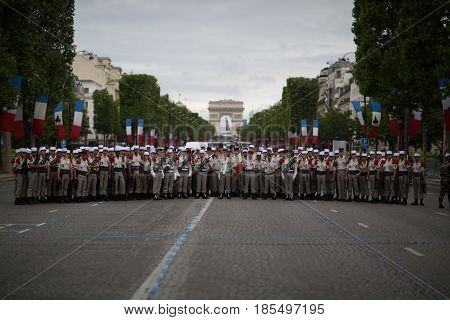 Paris France - July 14 2012. Legionnaires of the French Foreign Legion before the annual military parade in honor of the Bastille Day.