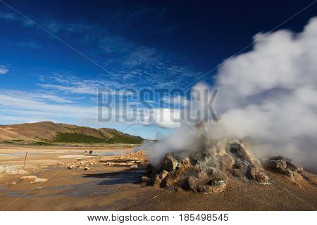 Fumarole Field In Namafjall Geothermal Area, Hverir, Iceland
