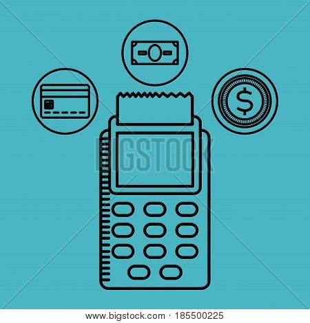 dataphone with money coins, bill and credit card icon over blue background. vector illustration