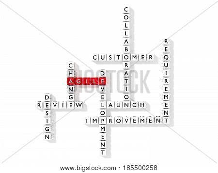 Crossword puzzle showing agile development keywords as dice on white business concept flat design 3D illustration