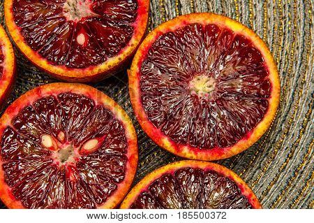 Sicilian orange ruby red oranges view from the top