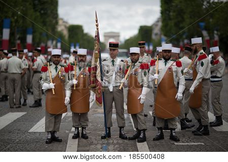 Paris. France. July 14 2012. Pioneers of the French foreign legion before the parade on the Champs Elysees in Paris.