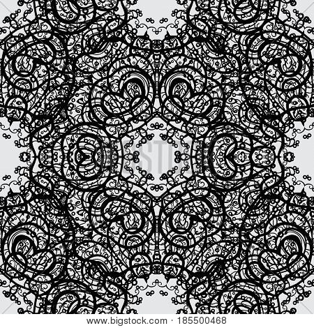 Classic vintage background. Seamless classic vector gray and dim pattern. Traditional orient ornament.