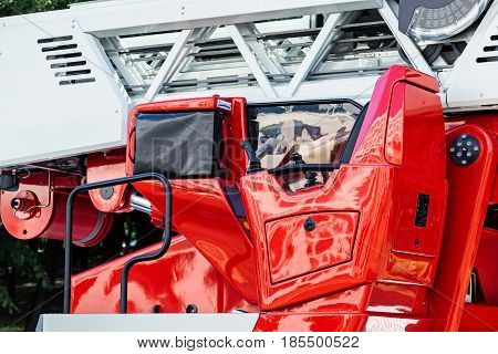 Hydraulic Ladder Of Fire Engine Closeup View