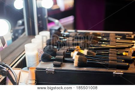 View of professional makeup brushes on the table