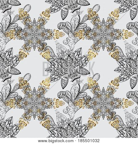 Traditional classic golden pattern. Golden pattern on gray background with golden elements. Vector oriental ornament. Seamless oriental ornament in the style of baroque.