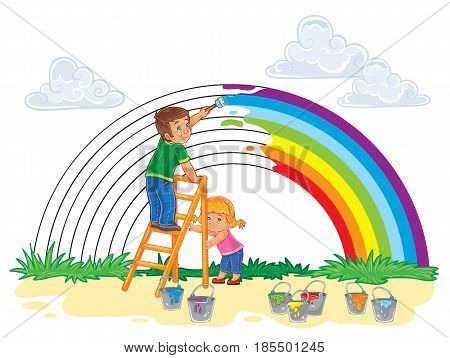 illustration of a carefree young children paint a rainbow of colors