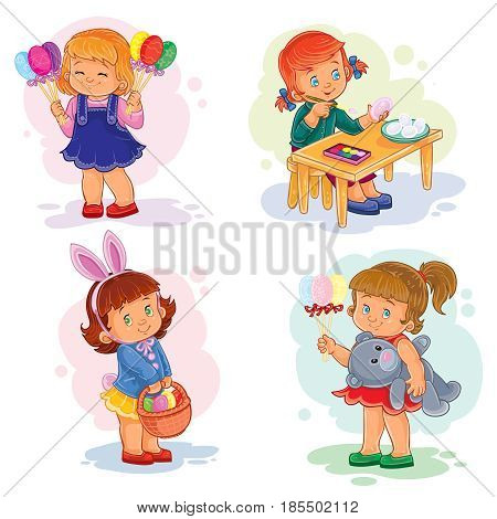 Set of clip art illustrations with young children on Easter theme