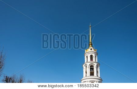 High White Bell Tower In Shuya, Ivanovo Region, Russia.