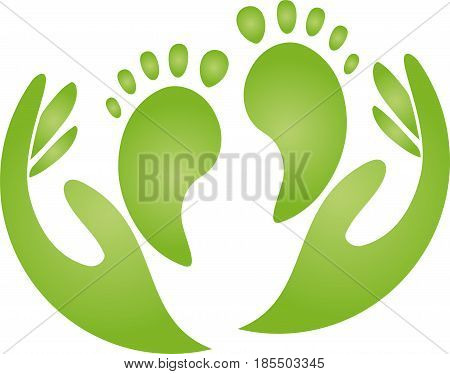 Two feet and hands, foot care and physiotherapy logo