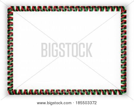 Frame and border of ribbon with the Libya flag. 3d illustration