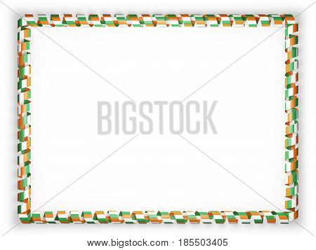 Frame and border of ribbon with the Ivory Coast flag. 3d illustration