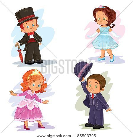 Set of clip art illustrations with young children in ballroom costumes