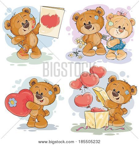 Set of clip art illustrations of enamored teddy bears in various poses - holding a valentine postcard, heart, unpacks gift, giving flowers to girlfriend