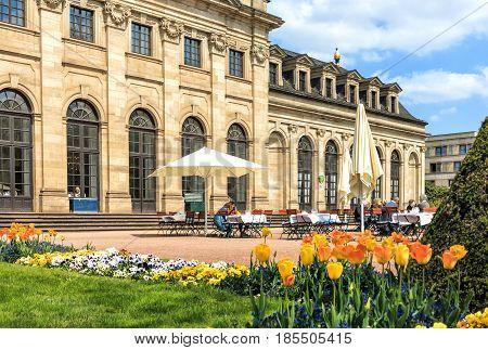 Orangerie terrace of Castle Garden in historical Fulda, Germany