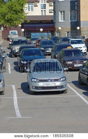 SARANSK, RUSSIA - MAY 07, 2017: Volkswagen Vento (or Volkswagen Polo Sedan) on parking lot.