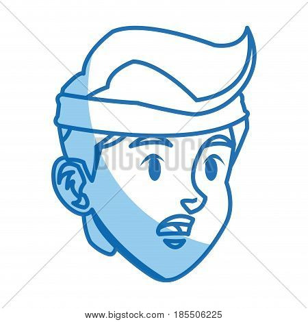 character head boy tired sport style image vector illustration