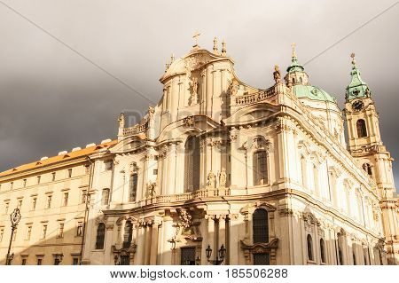 The Church of St. Nicholas on the old town square in Prague, monumental religious building, the main temple of the Czechoslovak Hussite Church. On Orthodox holidays around the temple is a procession.