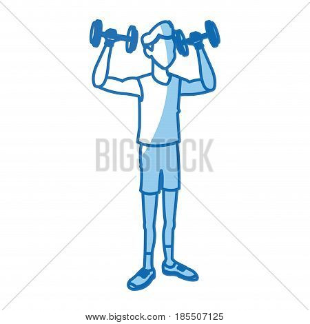 sport man lifting weight fitness gym practice workout vector illustration