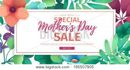Template designt discount banner for happy mother's day. Horizontal poster for special mother's day sale with flower decoration.  Horizontal layout on natural, floral background. Vector