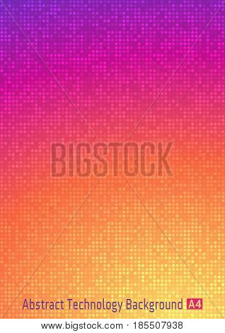 Abstract colorful vector technology circle pixel digital gradient background with  violet, red, orange, yellow colors. Business bright pattern backdrop with round pixels in A4 paper size.