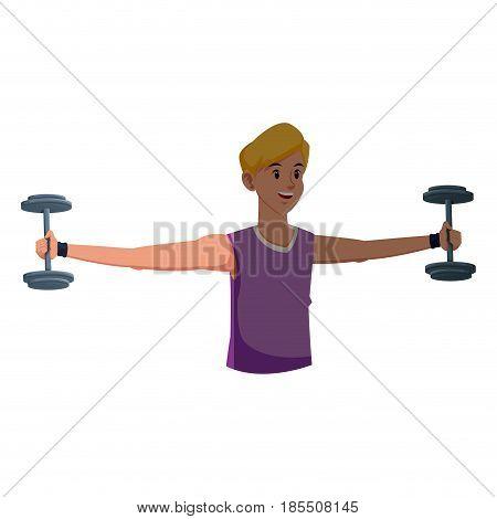sport man fitness gym practice workout vector illustration