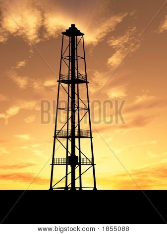 Oil rig silhouette over orange sky (see more in my portfolio) poster