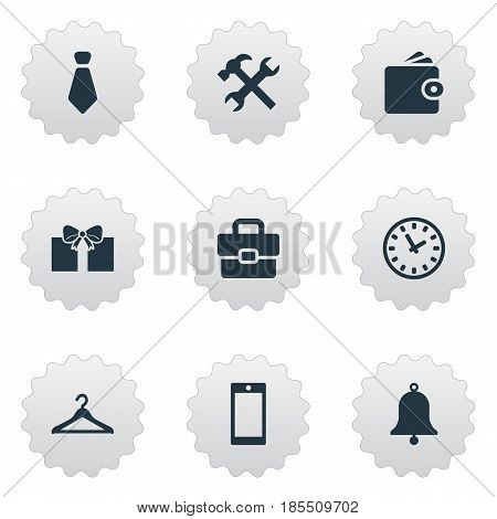 Vector Illustration Set Of Simple Accessories Icons. Elements Hanger, Cravat, Billfold And Other Synonyms Wallet, Tie And Bag.