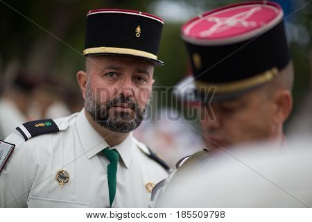 Paris. France. July 14 2012. Legioners of the French foreign legion during the parade on the Champs Elysees in Paris.