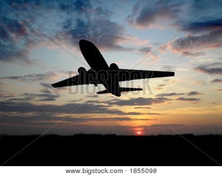 Silhouette of airplane over sunset  poster