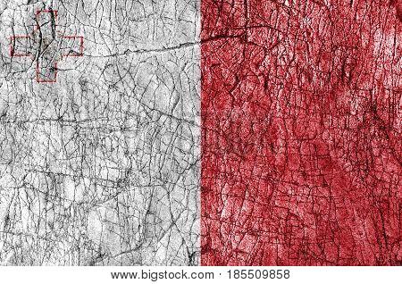 Grudge stone painted Malta flag close up