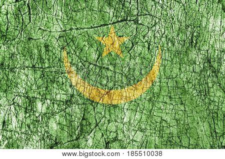 Grudge stone painted Mauritania flag close up